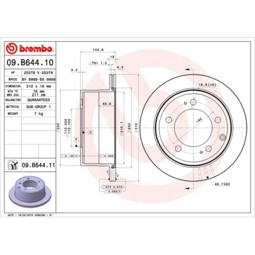 Bremsscheibe BREMBO 09.B644.11 COATED DISC LINE TOYOTA