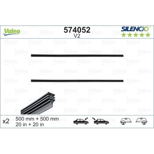 Wiper Blade Rubber VALEO 574052 SILENCIO CONVENTIONAL SET