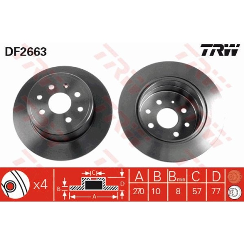 TRW Brake Disc DF2663