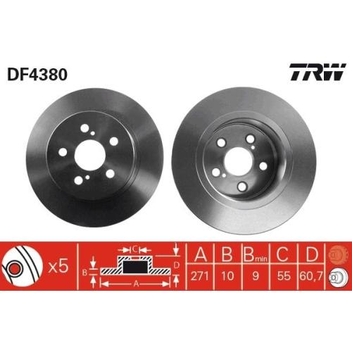 Brake Disc TRW DF4380 TOYOTA