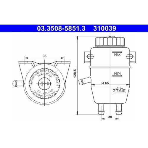 Expansion Tank, brake fluid ATE 03.3508-5851.3 BMW