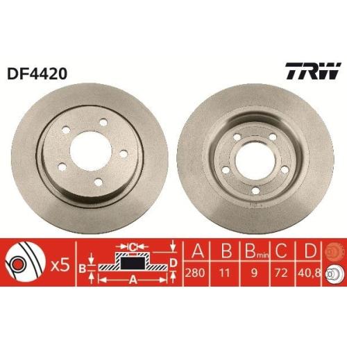 Brake Disc TRW DF4420 MAZDA