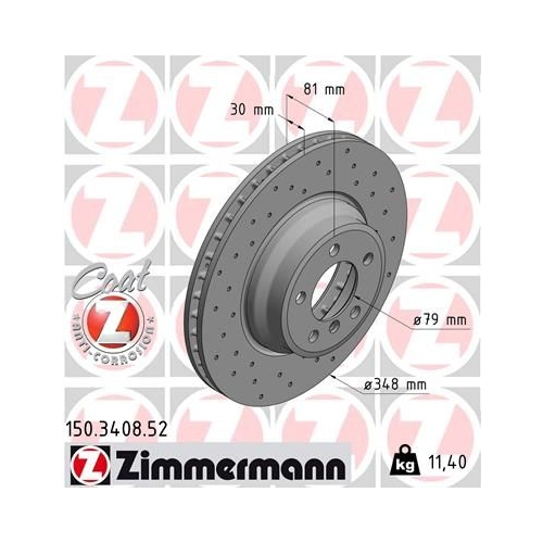 Brake Disc ZIMMERMANN 150.3408.52 SPORT BRAKE DISC COAT Z BMW