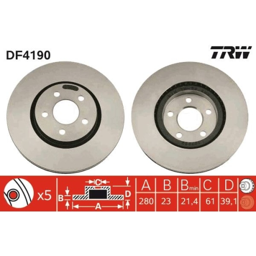 Brake Disc TRW DF4190 CHRYSLER