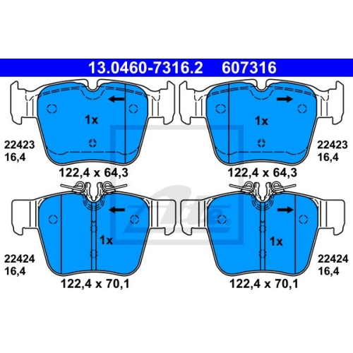 Brake Pad Set, disc brake ATE 13.0460-7316.2 MERCEDES-BENZ