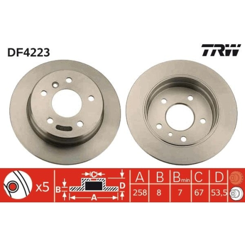 Brake Disc TRW DF4223 MERCEDES-BENZ