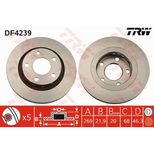 Brake Disc TRW DF4239 AUDI