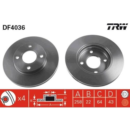 Brake Disc TRW DF4036 FORD MAZDA