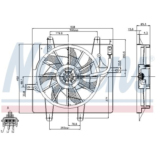 Fan, radiator NISSENS 85289 CHRYSLER