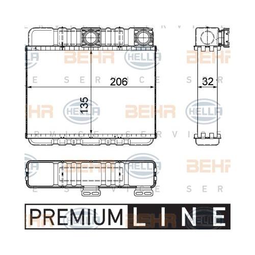 Wärmetauscher, Innenraumheizung HELLA 8FH 351 311-331 BMW BMW (BRILLIANCE)