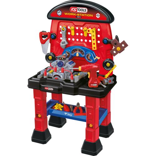 KS TOOLS Spielzeug WORKSTATION für Kinder Werkbank Set 100074