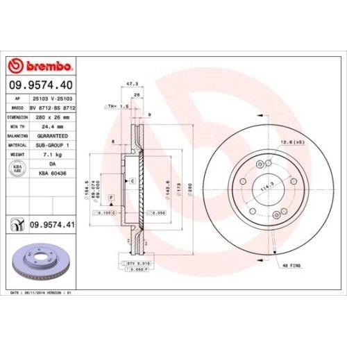Bremsscheibe BREMBO 09.9574.41 COATED DISC LINE HYUNDAI KIA