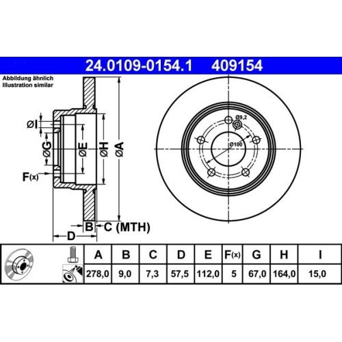 ATE Brake Disc 24.0109-0154.1