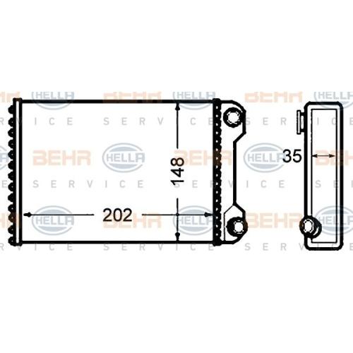 Wärmetauscher, Innenraumheizung HELLA 8FH 351 308-241 FIAT