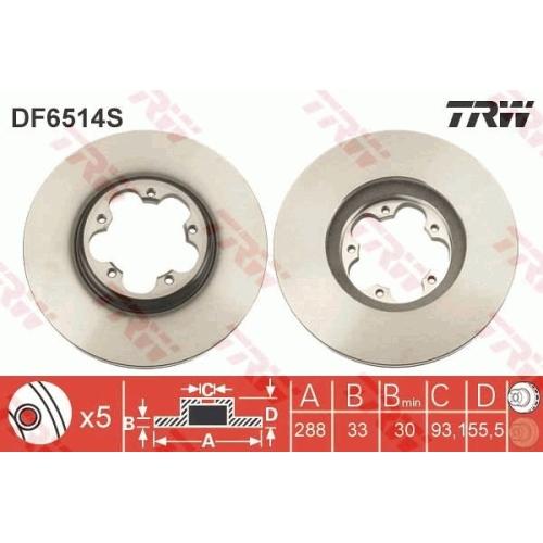 Brake Disc TRW DF6514S FORD