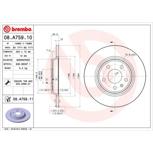Bremsscheibe BREMBO 08.A759.11 COATED DISC LINE AUDI VW (FAW)