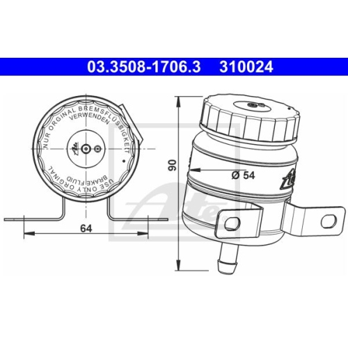 Ausgleichsbehälter, Bremsflüssigkeit ATE 03.3508-1706.3 MERCEDES-BENZ