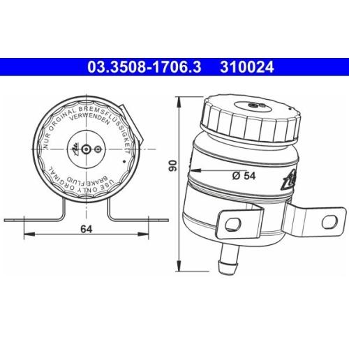 Expansion Tank, brake fluid ATE 03.3508-1706.3 MERCEDES-BENZ