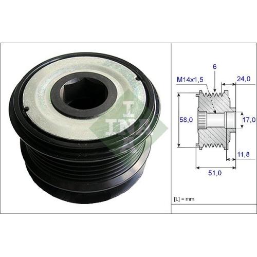 Alternator Freewheel Clutch INA 535 0196 10 CHRYSLER