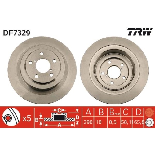 Brake Disc TRW DF7329 SUBARU