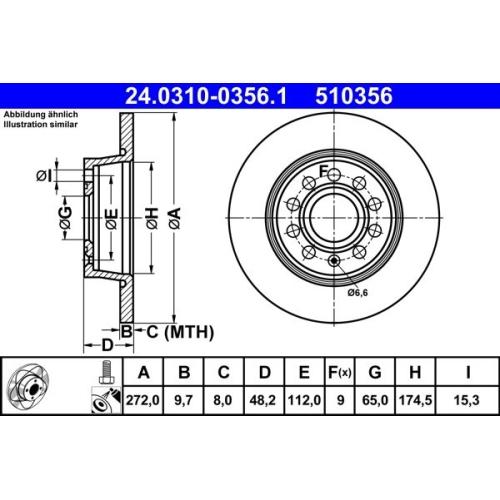 Bremsscheibe ATE 24.0310-0356.1 PowerDisc SEAT SKODA VAG