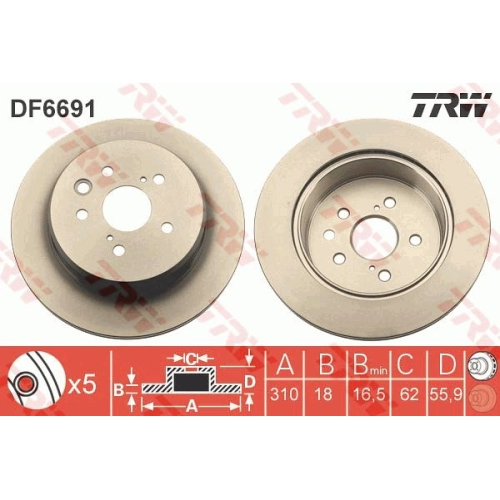Brake Disc TRW DF6691 LEXUS
