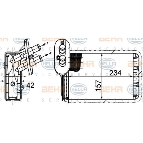Wärmetauscher, Innenraumheizung HELLA 8FH 351 313-451 FORD SEAT VW
