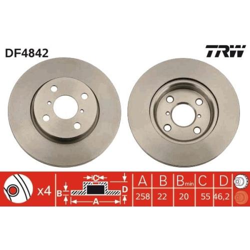 Brake Disc TRW DF4842 DAIHATSU TOYOTA TOYOTA (FAW)