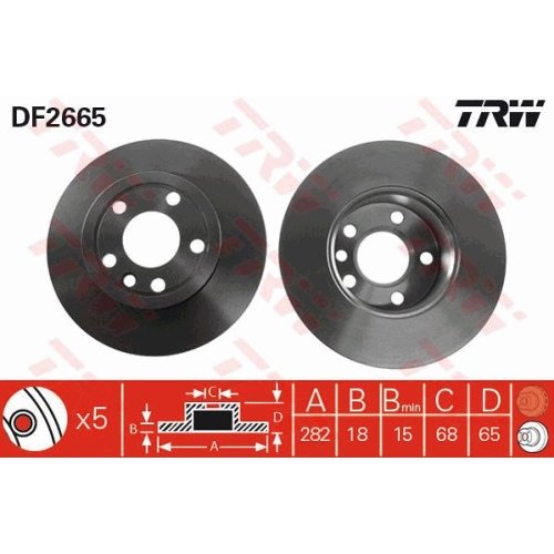 Brake Disc TRW DF2665 VW