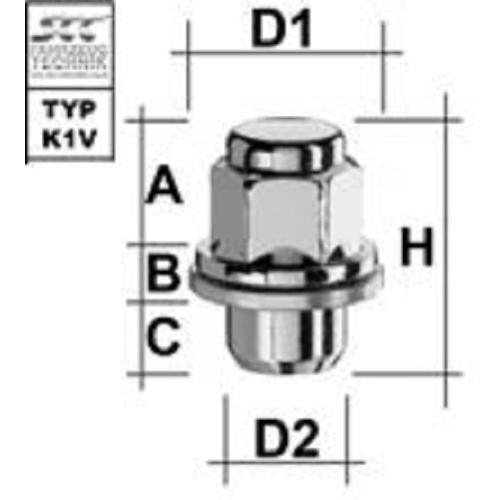 SCC Fahrzeugtechnik WHEEL BOLTS FLAT COLLAR TYPE K1V . Articel nr.: M1215FLG1