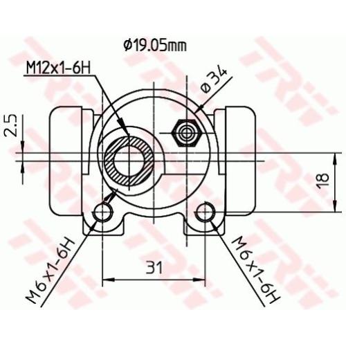 Wheel Brake Cylinder TRW BWD134 CITROËN PEUGEOT