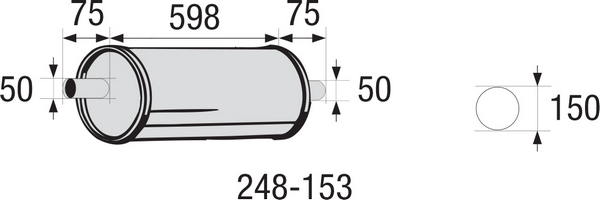 Middle Silencer, universal BOSAL 248-153