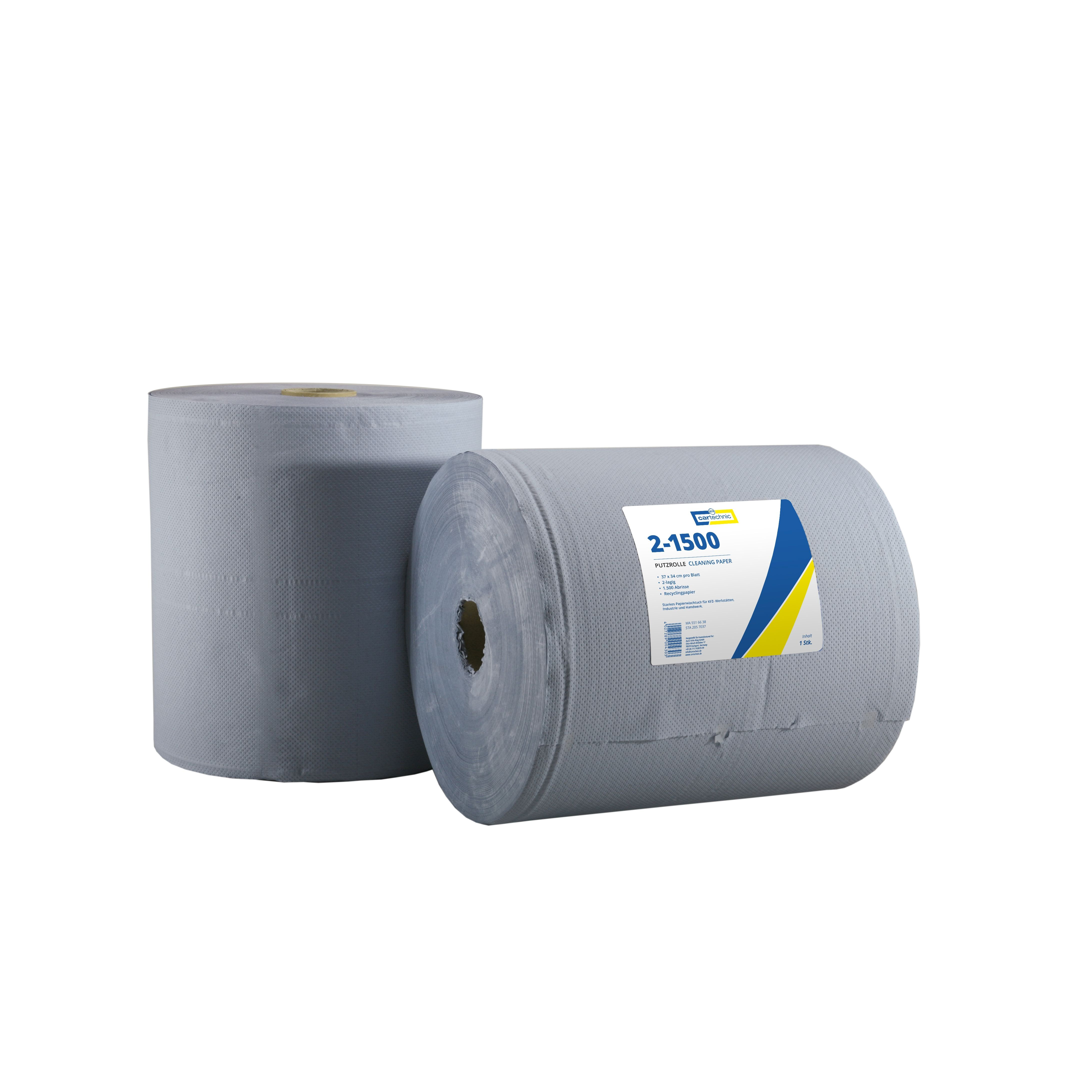 CARTECHNIC Putzrolle Papierrolle Werkstatt 2-lagig 1500 Abrisse 37x34 128453