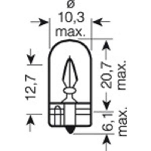 CARTECHNIC Glassockellampe W3W 3 Watt 12 Volt W2, 1x9 5d 40 27289 00597 3
