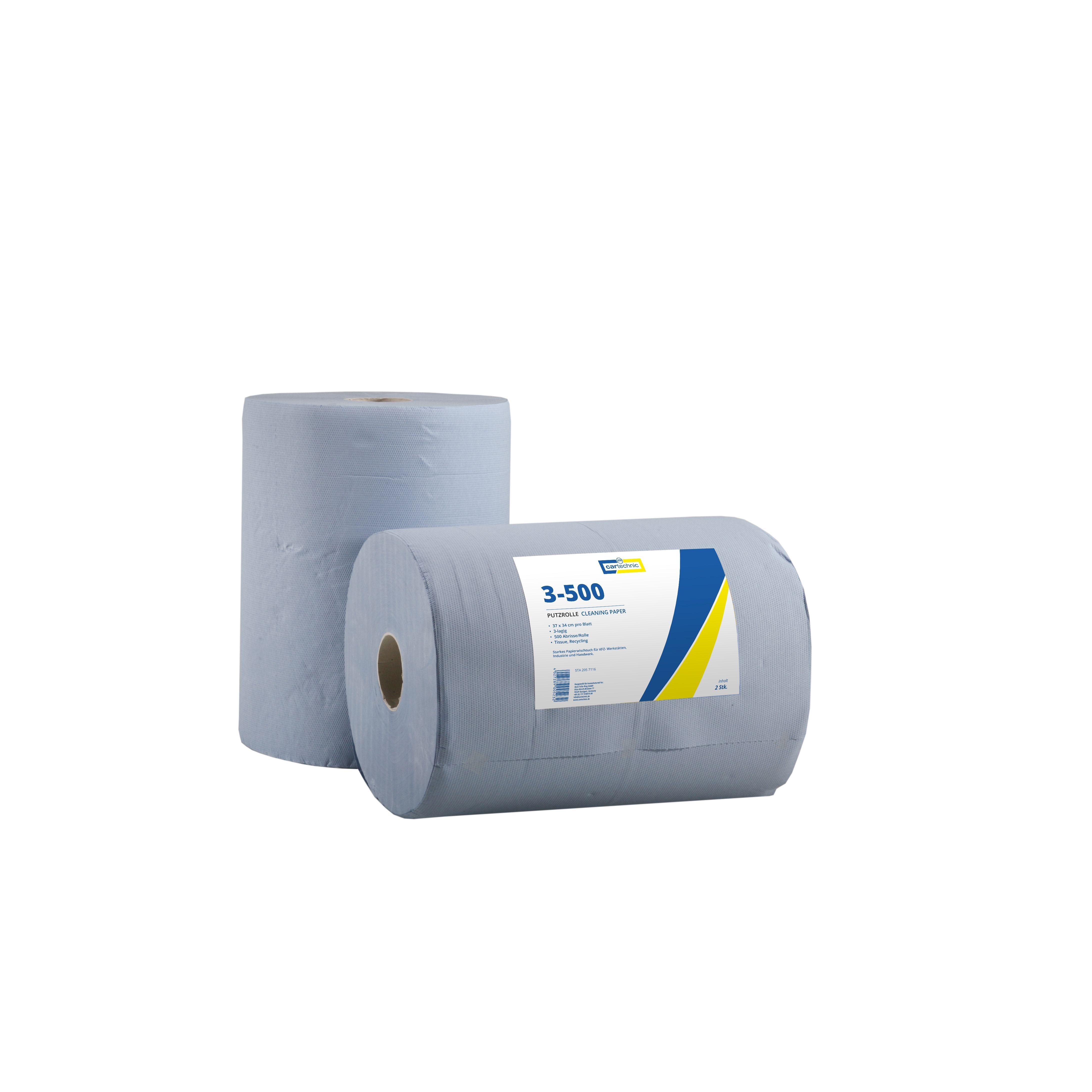 CARTECHNIC Papierrolle Putzrolle Werkstatt 3-lagig 500 Abrisse Blatt 34x37 4027289005232