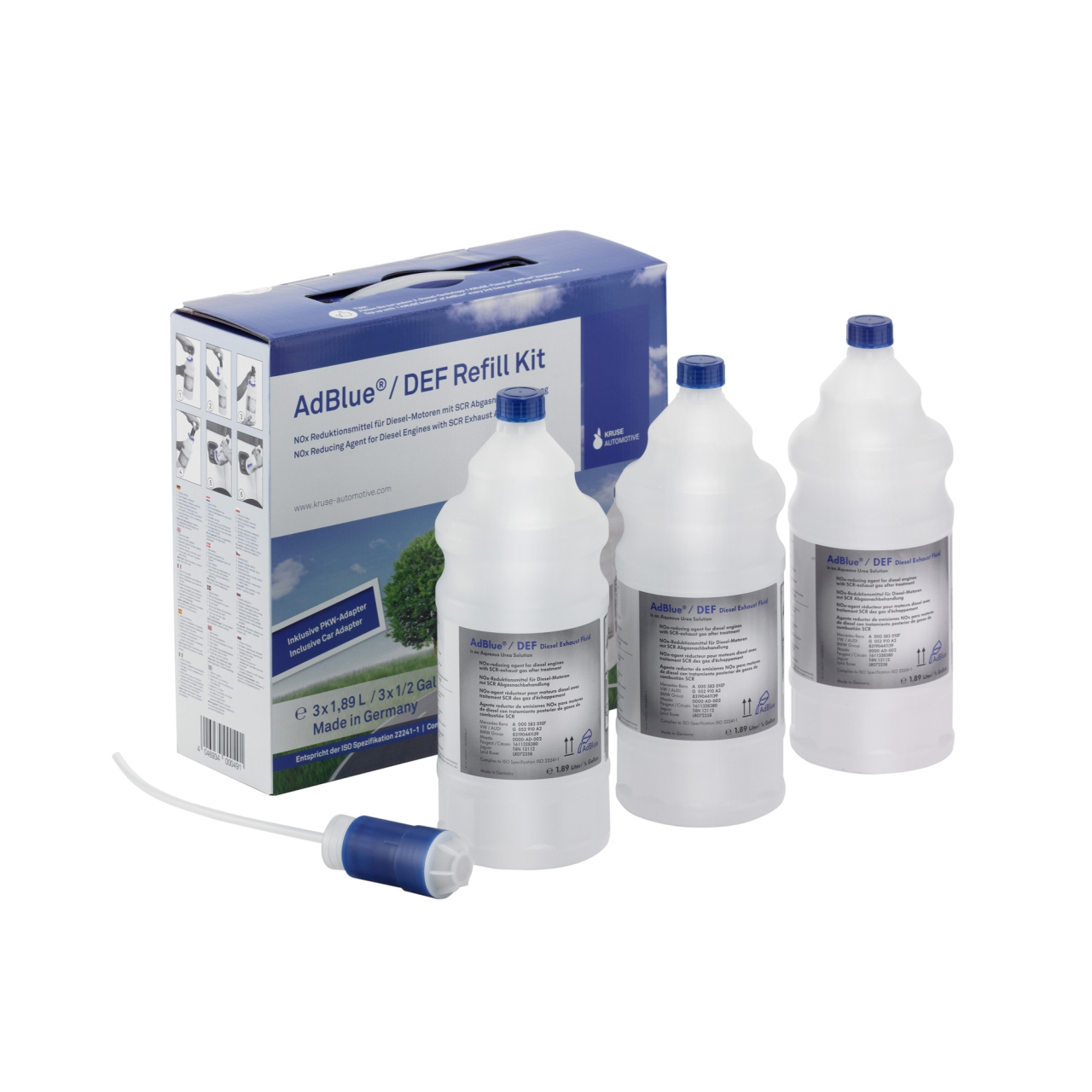 KRUSE Adblue Harnstofflösung Refill Kit 3 x 1,89 Liter für Pkw-Befüllung 1003803893500