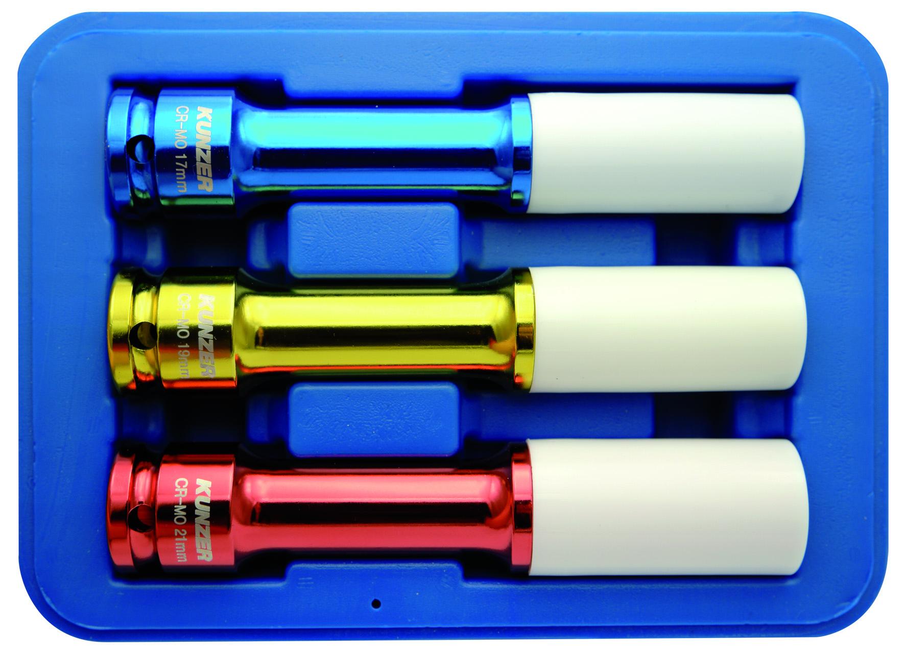 Impact-Radmutterneinsätze 1/2 Zoll Länge: 150 mm, 3-teilig - 17, 19, 21 mm