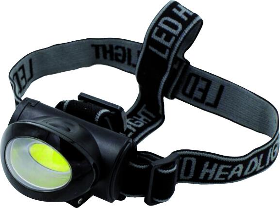 Stirnlampe mit COB / LED Technik mit 100 Lumen, 3x Alkali Batterien enthalten