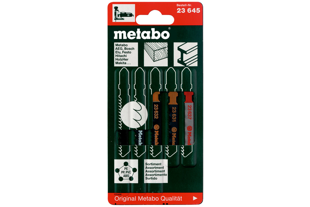 METABO Stichsägeblattsortiment 2, Holz+Metall+Kunststoffe, 5-teilig (623645000) 623645000