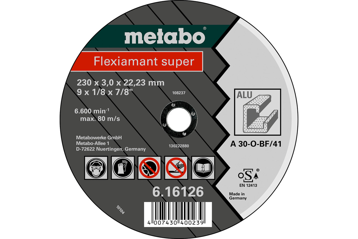 METABO Flexiamant super 230x3,0x22,23 Aluminium, cutting disc, straight execution (616126000) 616126000