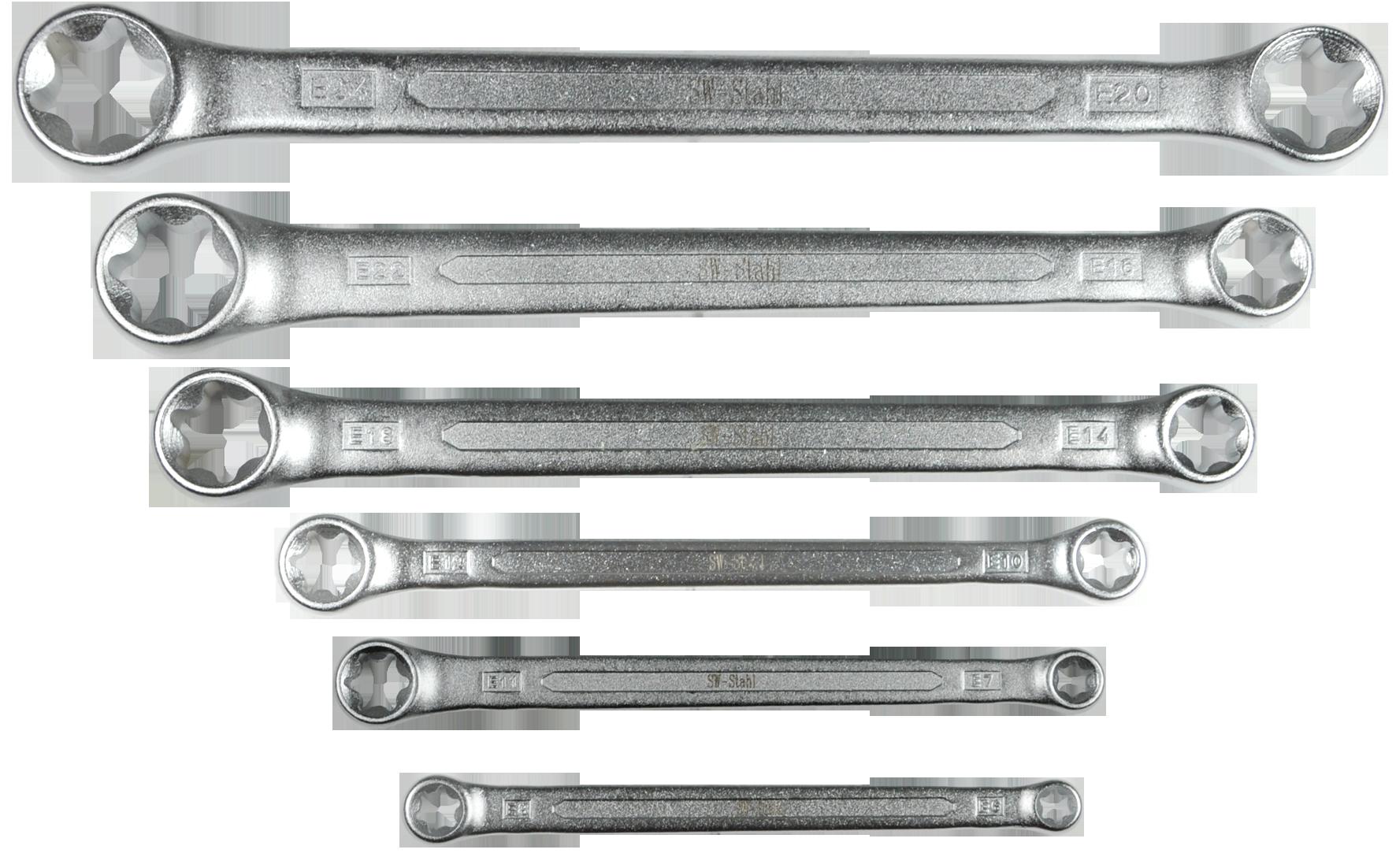 SWSTAHL Doppelringschlüsselsatz, E10-E24 gekröpft, 6-teilig 01560L