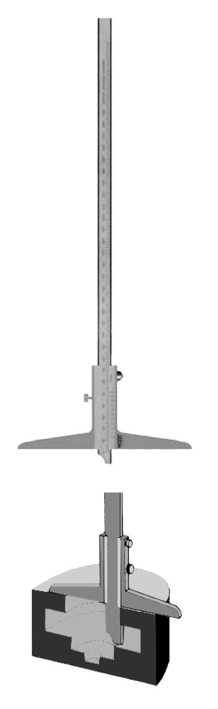 """VOGEL Depth caliper, 300/150 mm straight measuring rod, type """"C"""" stainless 22 1532"""